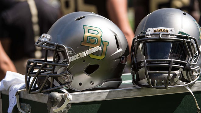 A detailed view of a Baylor Bears helmet.
