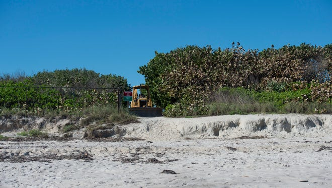 Treasure Coast officials are monitoring the beaches ahead of Hurricane Dorian, watching for possible erosion. Beaches sustained heavy damage after hurricanes Matthew in 2016 and Irma in 2017. In this photo taken on Friday, Jan. 6, 2017, construction equipment was being staged at Tracking Station Park in Indian River County for dune construction. A beach renourishment project from Tracking Station Park south to the Riomar Golf Course is scheduled for November.