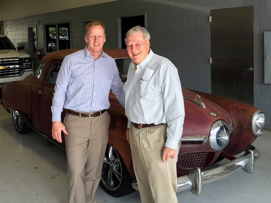 Ben Freeland and his father, George, with a 1950 Studebaker