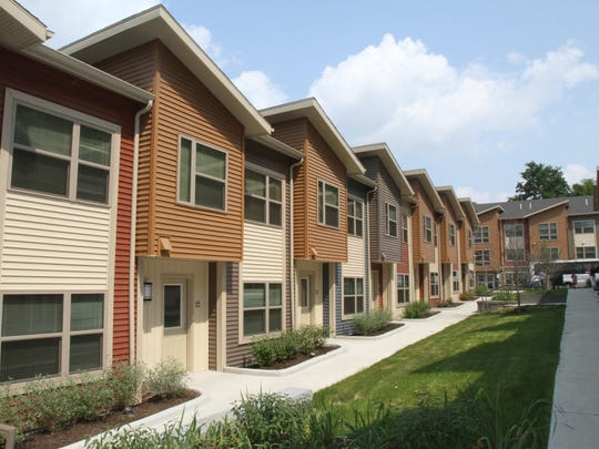A view of the town houses at Stone Quarry Apartments;