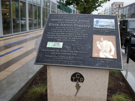 """The Elvis Presley final-concert plaque, with its """"TCP"""""""