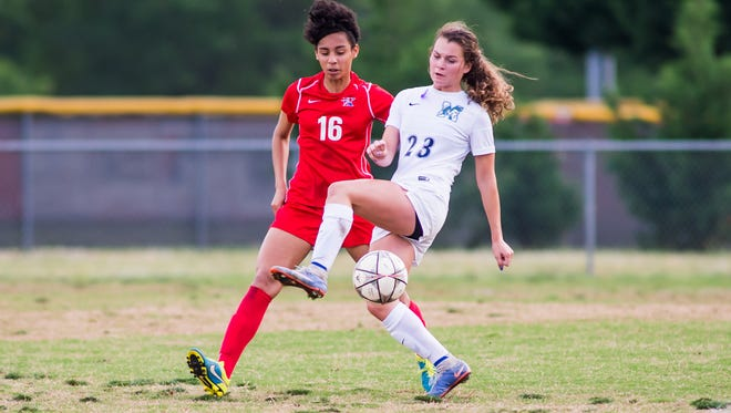 Riverside's Larissa Heslop, left, and J.L. Mann's Caroline Conti are members of the CESA ECNL U17 team that will compete in the National Playoffs in Oceanside, California, beginning Friday.