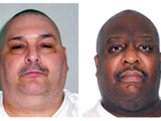 This combination of undated photos provided by the Arkansas Department of Correction shows death-row inmates Jack Harold Jones Jr., left, and Marcel Williams. Both men are scheduled for execution on April 24, 2017.