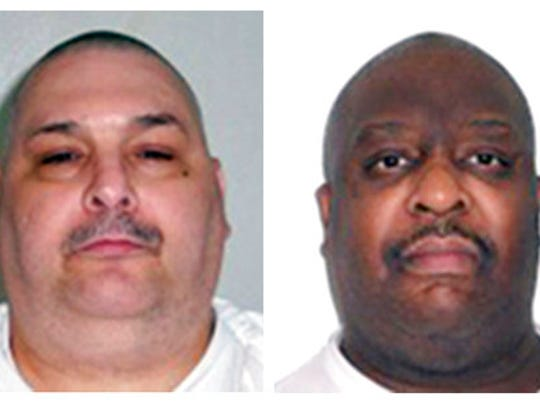 FILE - This combination of undated file photos provided by the Arkansas Department of Correction shows death-row inmates Jack Jones, left, and Marcel Williams. The two Arkansas inmates scheduled to be put to death Monday, April 24, 2017, in what could be the nation's first double execution in more than 16 years have asked an appeals court to halt their lethal injections because of poor health.