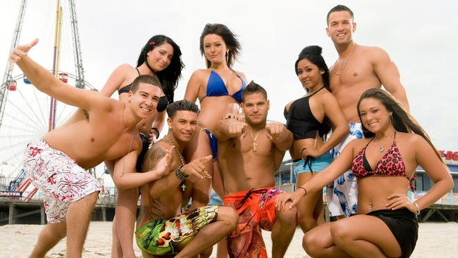 """This file photo released by MTV shows the cast of the reality TV show """"Jersey Shore,"""" from left, Vinny Guadagnino, Angelina Pivarnick, Paul """" DJ Pauly D"""" Delvecchio, Jenni """"JWOWW"""" Farley, Ronnie Magro, Nicole """"Snooki"""" Polizzi, who is a Marlboro native, Mike """"The Situation"""" Sorrentino and Sammi """"Sweetheart"""" Giancola."""