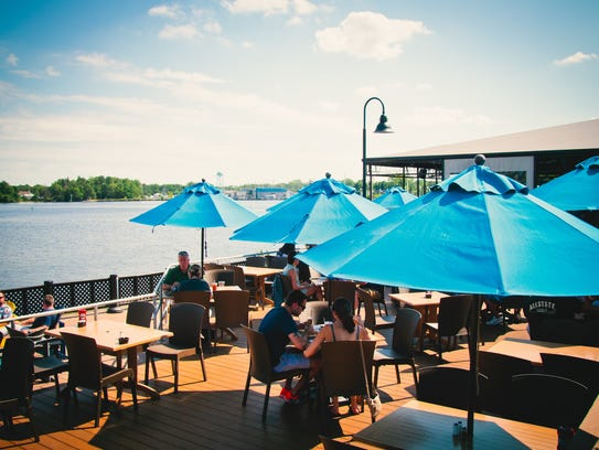 The deck at Baker's Water Street Bar & Grille in Toms