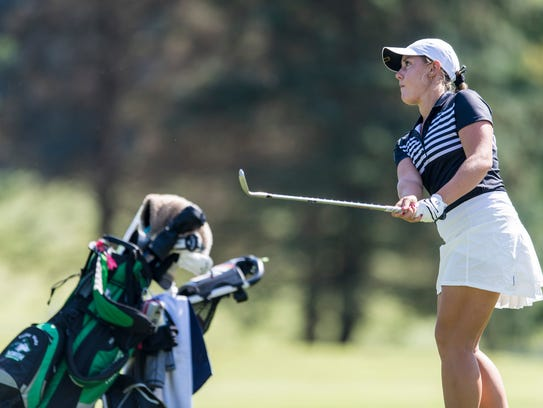 North's Hadley Walts watches where her ball lands as