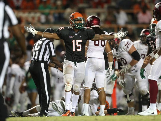 FAMU's Elijah Richardson celebrates a stop on 3rd down