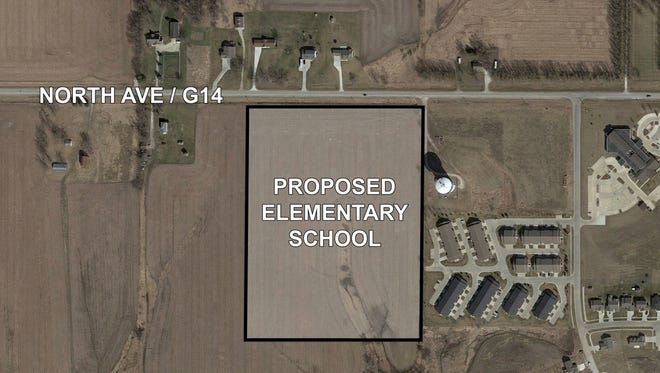 The land Norwalk schools purchased  that will be used to build a new elementary school is south of G14 Highway and west of the Norwalk water tower.