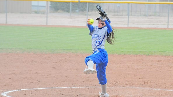 Carlsbad's Teddi Garcia fires a pitch in game one Tuesday