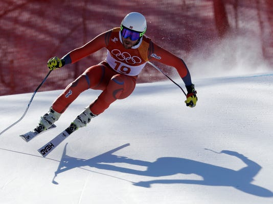 Norway's Kjetil Jansrud skis during the downhill portion of the men's combined at the 2018 Winter Olympics in Jeongseon, South Korea, Tuesday, Feb. 13, 2018. (AP Photo/Michael Probst)