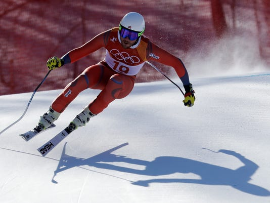 Norway's KjetilJansrud skis during the downhill portion of the men's combined at the 2018 Winter Olympics in Jeongseon, South Korea, Tuesday, Feb. 13, 2018. (AP Photo/Michael Probst)