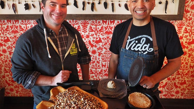 Joel Harris, owner of Dos Amigos and Vida Cantina, left, and David Vargas, owner and chef of Vida Cantina and Ore Nell's Barbecue.