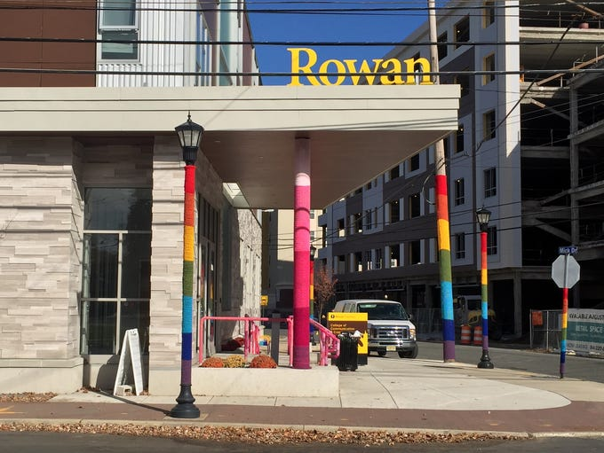 Yarn-bombing outside the Rowan art  gallery at 301