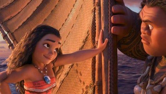 "Moana (left, voiced by Auli'i Cravalho) and Maui (Dwayne Johnson) set sail in the latest Disney animated feature ""Moana."""