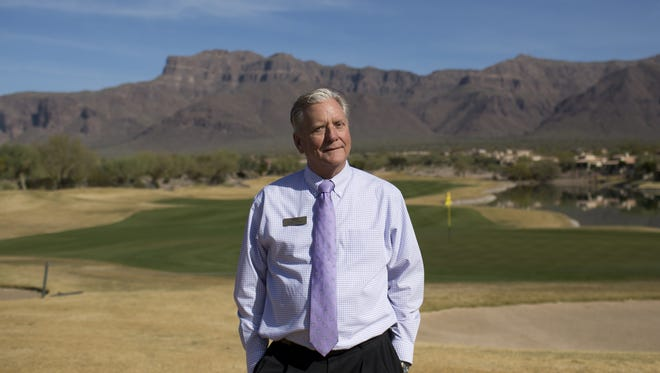 Mark Gurnow, the general manager of the Superstition Mountain Golf & Country Club, stands on the course in Gold Canyon, Ariz. on Feb. 1, 2018.