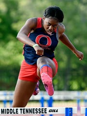 Imani Udoumana of Okland High School competes in the 300 meter hurdles finals during the Division II AAA state Track and Field championships at Middle Tennessee State University Thursday, May 25, 2017, in Murfreesboro, Tenn.