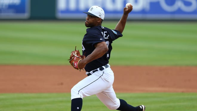 Tigers pitcher Sandy Baez (62) throws against the Yankees in the first inning at Publix Field at Joker Marchant Stadium on Tuesday, March 20, 2018.