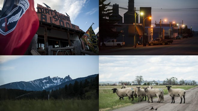 Upper left, military flags wave outside the Dirty Shame in northwestern Yaak, noting the owner's past as an Army Ranger. Upper right, grain elevators silhouette along the main street of northeastern Westby, where agriculture continues even as the oil patch went bust. Lower left, trees and the mountains push against southwestern Darby where the Bitterroot Valley narrows. And lower right, sheep far outnumber people in Alzada, the most southeastern town in Montana.