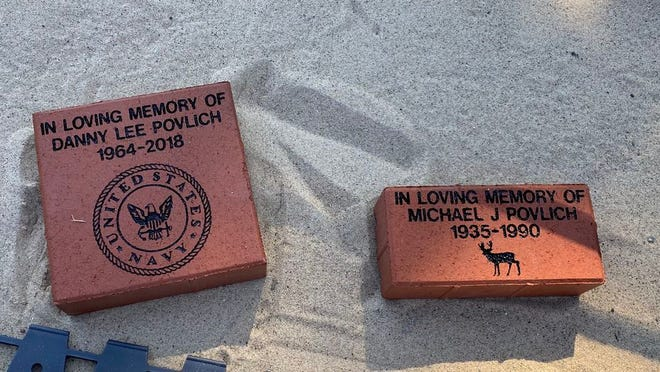 Betty Povlich, a long-time resident of Brownstown Township, was the first person to purchase these two engraved bricks in memory of her relatives -- Danny Lee Povlich and Michael J. Povlich.