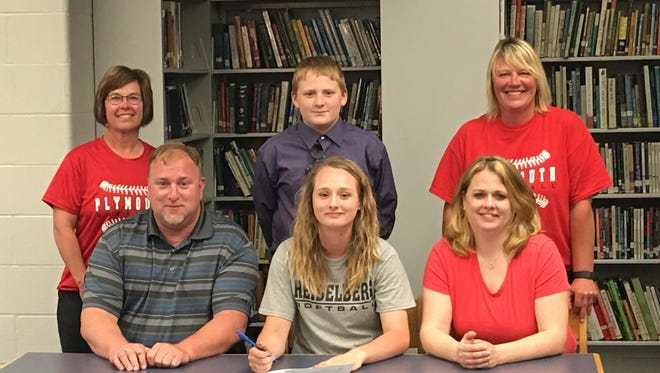 Plymouth's Callie Jones signs her letter of intent to Heidelberg University on Wednesday