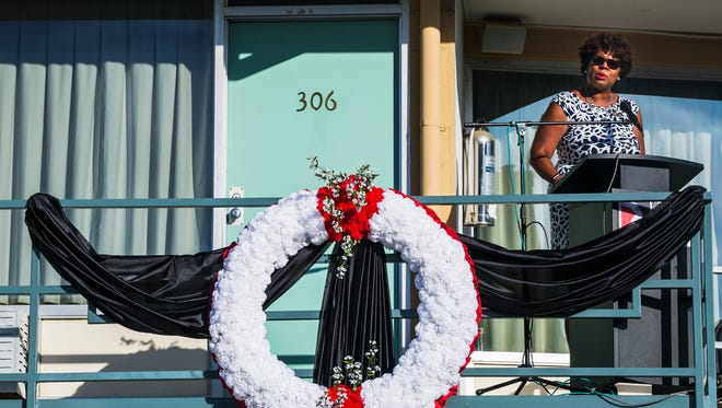 Terri Freeman, president of the National Civil Rights Museum, addresses the crowd during a 2017 commemorative event for civil rights leader Dr. Martin Luther King, Jr., who was fatally shot as he stood on the balcony of the Lorraine Motel. (Yalonda M. James / The Commercial Appeal)