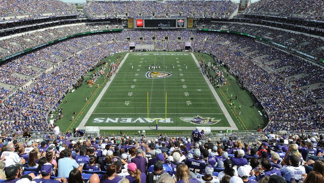 M&T Bank Stadium, home of the Baltimore Ravens, will see significantly reduced crowds in 2020, if the NFL season can be held at all.