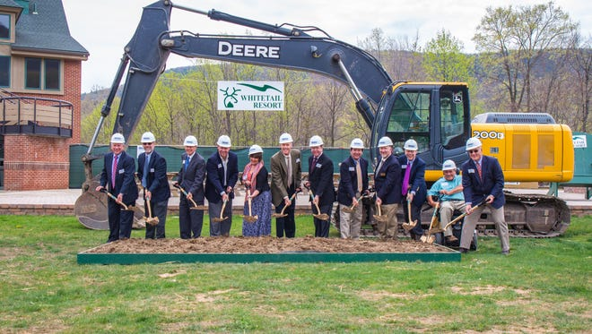 Officials with Whitetail Resort participate in a recent ground-breaking ceremony to mark the start of the Base Lodge expansion project.