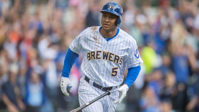 Moments like this grand slam against the Giants were rare for second baseman Jonathan Schoop after he joined the Brewers in a trade last season.