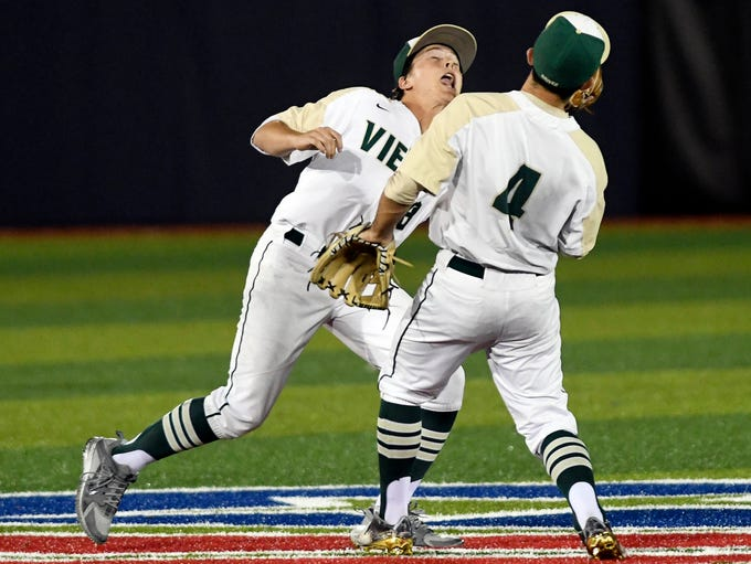 Viera's Connor Leary and Andrew Brait avoid a collision
