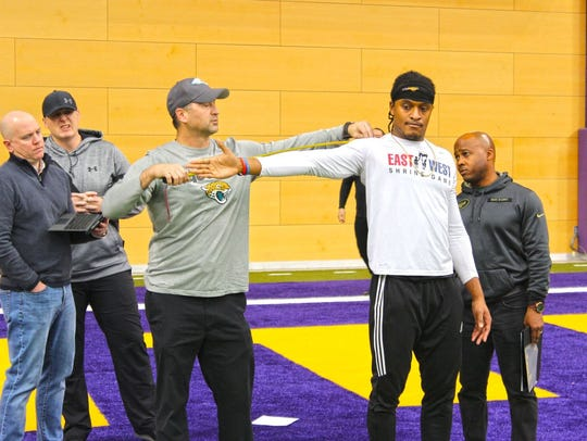 Daurice Fountain gets measured during UNI Pro Day on