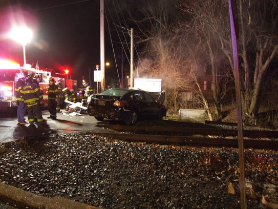 A car crashed into an electrical box, which controls