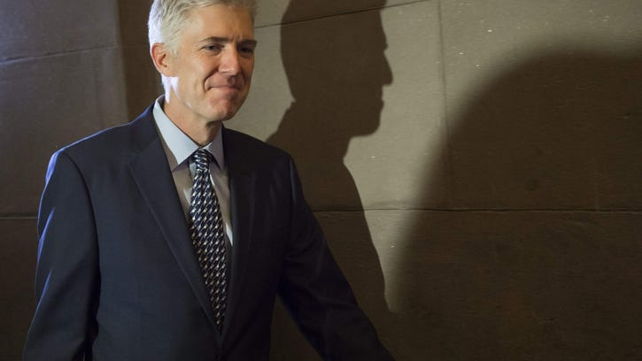 Supreme Court nominee Judge Neil Gorsuch arrives for a meeting Thursday at the U.S. Capitol in Washington, D.C.