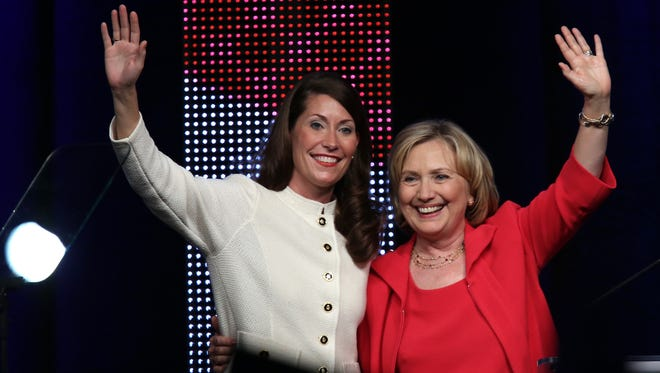 Former U.S. Secretary of State Hillary Clinton campaigned for Alison Lundergan Grimes in downtown Louisville in 2014.  Oct. 15, 2014.