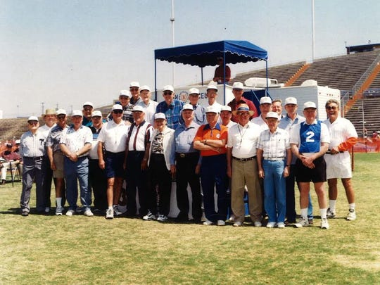 Some of the volunteers for the 40th Annual San Angelo Relays in 1998. There have been major renovations and artificial turf added to the stadium since this photo was taken.