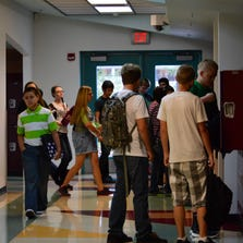 Charles A. Hughes middle School students crowd the halls on the first day of school in 2013. Mesquite and Bunkerville schools are gearing up to welcome youth back Aug. 25.