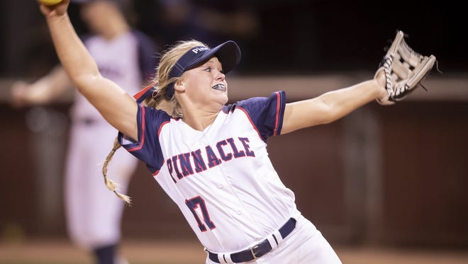 Senior pitcher Marissa Schuld (17) of the Pinnacle Pioneers pitches against the Hamilton Huskies during the 6A Softball State Championships at Farrington Softball Stadium on Monday, May 14, 2018 in Tempe, Arizona.