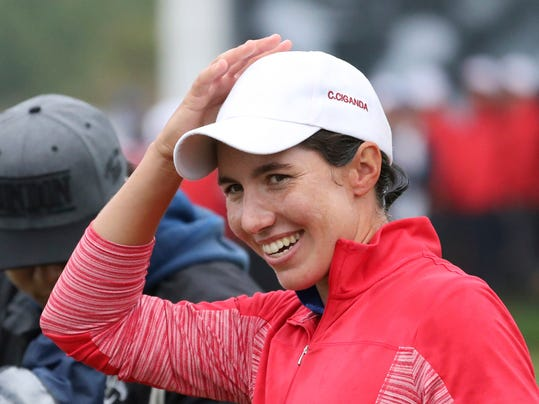 Carlota Ciganda of Spain celebrates after a playoff to win the LPGA KEB HanaBank Championship at Sky72 Golf Club in Incheon, South Korea, Sunday, Oct. 16, 2016. (AP Photo/Lee Jin-man)