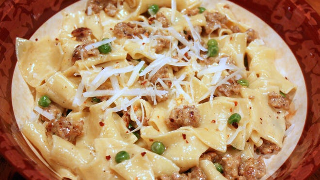 Pappardelle with Sausage and Peas.