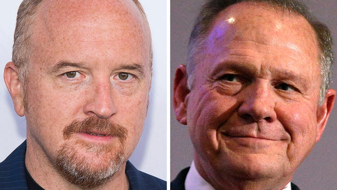 Comedian Louis C.K., left, and U.S. Senate candidate Roy Moore are at the center of scandals.