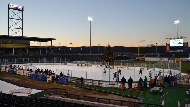 Provident Bank Park is hosting a string of high school ice hockey games this winter.