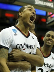 Troy Caupain was one happy man after his buzzer-beating layup sent UC to overtime against Purdue in the NCAA tournament last March. (The Bearcats won 66-65).