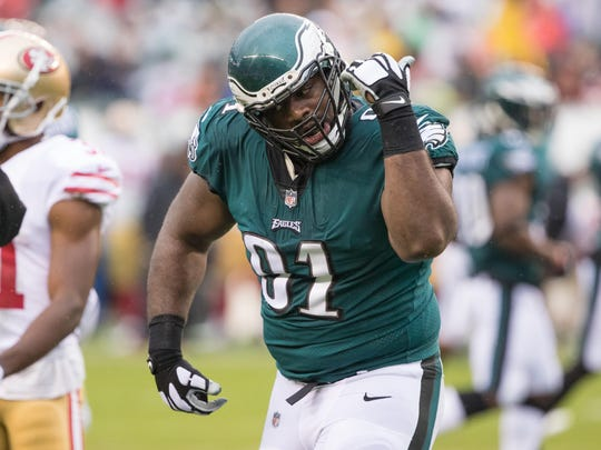 Philadelphia Eagles defensive tackle Fletcher Cox (91) reacts after a sack against the San Francisco 49ers.