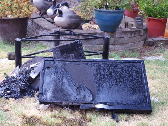 Lightning hit a power pole near a home in Bella Vista on Sunday afternoon. The lightning caused a power surge that ignited a television in the nearby home, according to Cal Fire.