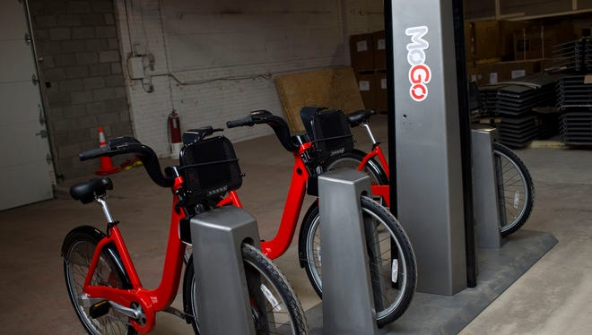 A future MoGo Detroit Bike Share station, seen on Tuesday, April 25, 2017 at the MoGo Detroit Bike Share warehouse in Detroit. The bike share program is expected to have 43 stations across Detroit.
