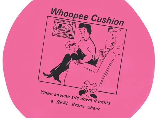"""""""Whoopee cushion, as featured in Johnson Smith's """"""""Things"""