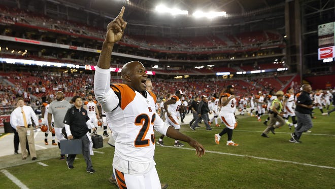 Cincinnati Bengals cornerback Terence Newman (23) reacts to an interception to end their preseason game against the Arizona Cardinals at the University of Phoenix Stadium.
