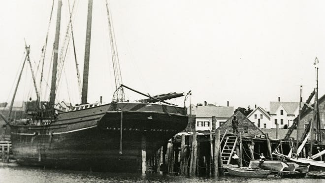 The Maine schooner Lizzie Carr is seen in port before her tragic 1905 wreck near Wallis Sands Beach in Rye.