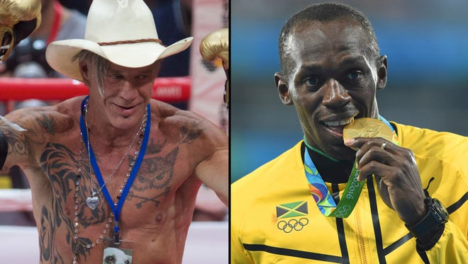 Left to Right: US actor Mickey Rourke reacts after defeating his opponent Elliot Seymour of the United States on Nov. 28, 2014. Usain Bolt of Jamaica reacts during the medal ceremony for the Men's 4x100m relay of the Rio 2016 Olympic Games on Aug. 20, 2016.