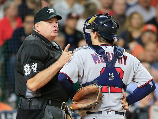 May 2: John Ryan Murphy argues with home plate umpire